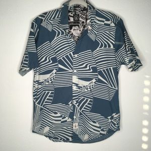 Volcom Blue & White Waves SS Button Down S